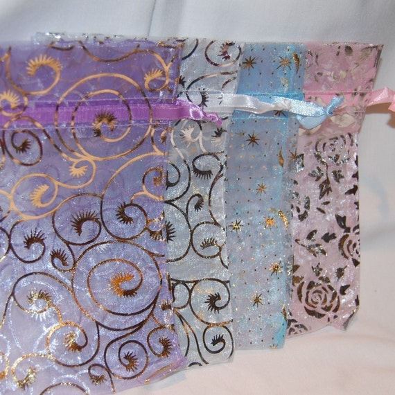 Organza Bags Pastels with Designs/Medium 3x4/Set 12