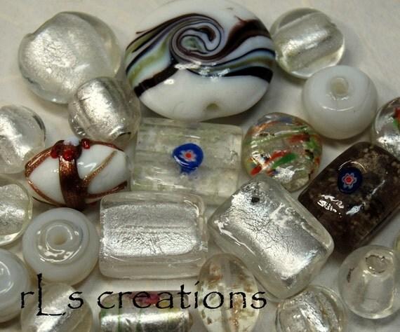 Dichroic Glass Bead Mix - Whites