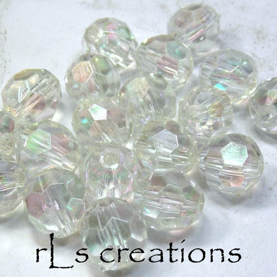 Acrylic Round Faceted Beads 16MM Transparent Clear AB Finish - Combined Shipping
