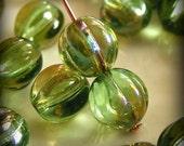 Czech Glass Melon Beads 8mm Round Chrysolite Celsian (12pk) SI-8ML-CCG