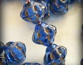 Czech Glass Saturn Beads 6mm Flying Saucer UFO Sapphire Blue Gold (25pk) SRB-6x5S-SG