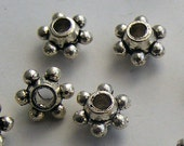 36pcs Antique Silver Dot Spacer Beads 6mm Z-N1103-AS
