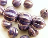 8mm Melon Beads Czech Glass Round Amethyst Marbled Gold (10pk) SI-8ML-AMG