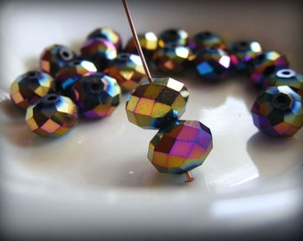 Metallic Rainbow AB Faceted Rondelles 10x7mm Crystal Beads (Qty 12) PH10x7R-M