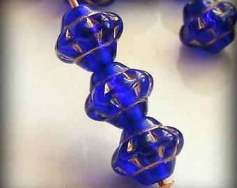 Czech Glass Saturn Beads 6mm Flying Saucer UFO Cobalt Blue Gold (15pk) SRB-6x5S-CBG