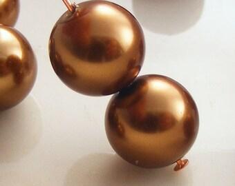 Glass Pearl Beads 10mm Round Bronze (Qty 15) Z-10P-BNZ