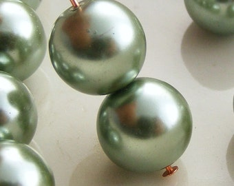 10mm Glass Pearl Beads Round Sage Green (Qty 15) Z-10P-SAGE