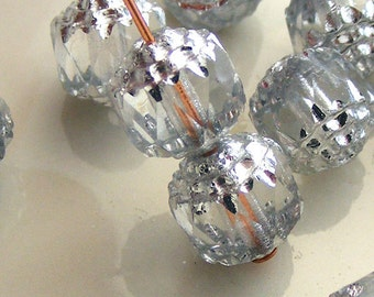 Czech Glass Cathedral Beads 8mm Fire Polish Crystal with Silver (Qty 8) SRB-8FPC-CRY-S