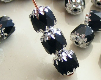 6mm Cathedral Beads Czech Glass Fire Polish Black with Silver (Qty 12) SRB-6FPC-B-S