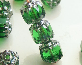 6mm Cathedral Beads Czech Glass Fire Polish Green with Silver (Qty 12) SRB-6FPC-G-S