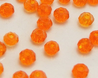 3x2mm Faceted Rondelles Crystal Beads Orange Abacus (Qty 25) Z3x2R-O