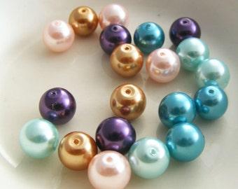 Glass Pearl Bead Mix Round Midnight Garden Designer Mix 8mm (Qty 20)