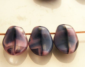 Czech Glass Petal Beads 8x6mm Pink Black Crystal (25pk) SI-8x6P-PBC