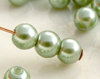 4mm Glass Pearl Beads Round Sage Green (Qty 50) Z-4P-SAGE