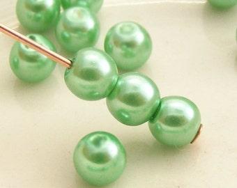 4mm Glass Pearl Beads Round Vibrant Spring Green (Qty 50) Z-4P-VSG