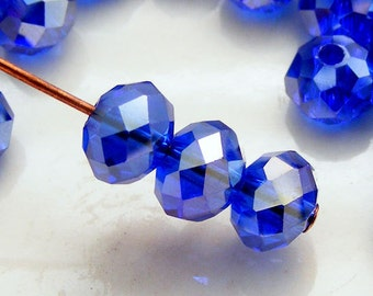 6x4mm Crystal Rondelles Faceted Beads Cobalt Blue AB Abacus (Qty 15) MW-6x4R-CB