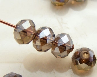 6x4mm Crystal Rondelles Faceted Beads Smoky Topaz AB Abacus (Qty 15) MW-6x4R-ST