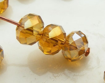 6x4mm Crystal Rondelles Faceted Beads Dark Amber AB Abacus (Qty 15) MW-6x4R-DA