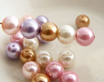 8mm Glass Pearl Beads Round Orchid Designer Pearl Mix (Qty 20)