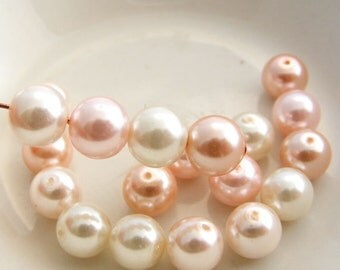 8mm Glass Pearl Beads Round  Pink Blush Designer Pearl Mix (Qty 20)