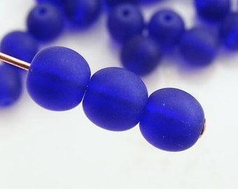Smooth Round Frosted Sea Glass Beads 6mm Matte Cobalt Blue (Qty 15) SI-SG6-CB