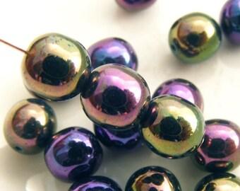 Czech Glass Druk Beads 8mm Round Metallic Purple Iris (15pk) SI-8DK-MPI