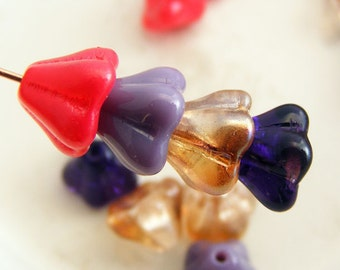Czech Glass Bell Flower Beads 8x6mm Red Mulberry Glass Bead Mix (16pk) SI-8x6F-RM