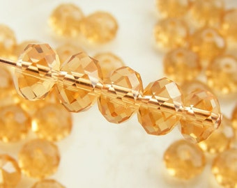6x4mm Crystal Rondelles Faceted Beads Transparent Citrine Honey (Qty 15) MW-6x4R-C