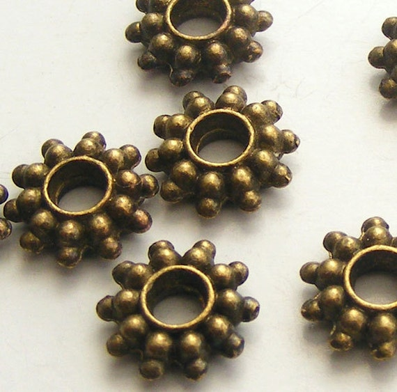 16pcs Antique Brass Daisy Spacer Beads 9mm Z-N1184-AB