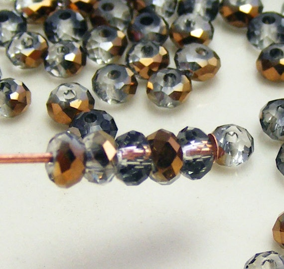 3x2mm Faceted Rondelles Crystal Beads Grey Half Copper Abacus (Qty 25) Z3x2R-GHC