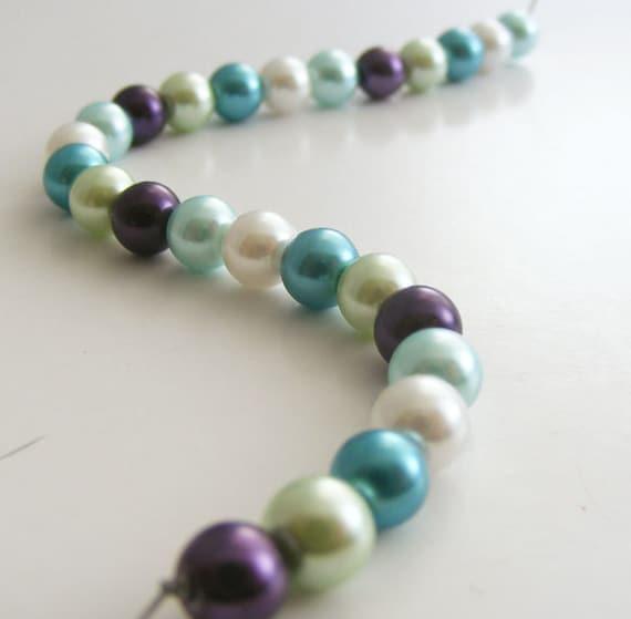 6mm Glass Pearl Beads Round Laguna Glass Bead Mix (Qty 25)