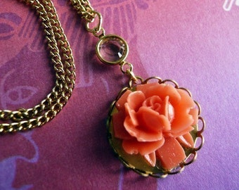 Lovely Coral Rose Cabochon Necklace