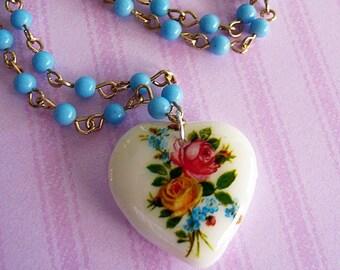 Vintage Floral Glass Heart Necklace