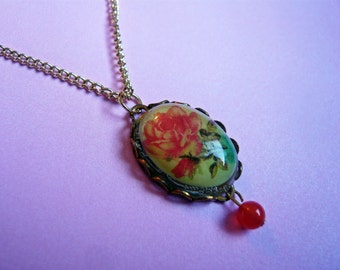 Pink Rose Cameo Necklace