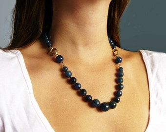 Royal Blue and Gold Necklace