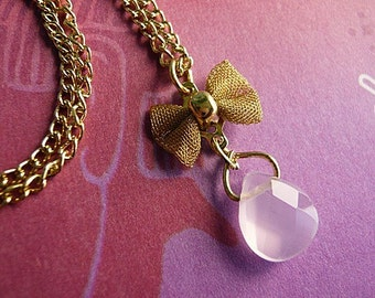 Romantic Bow and Briolette Charm Necklace