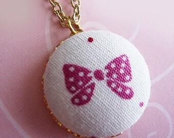Pink Polka Dot Ribbon Necklace