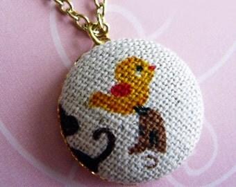 Adorable Yellow Bird Button Necklace