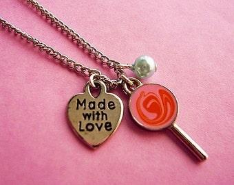 Orange Creamsicle Lollipop Charm Necklace