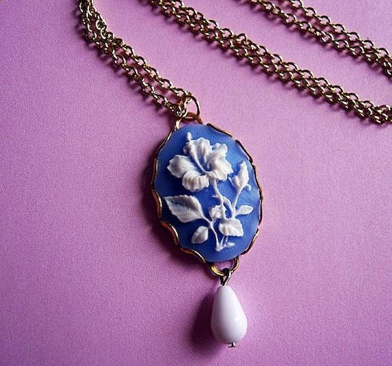 Sky Blue Hibiscus Flower Cameo Necklace