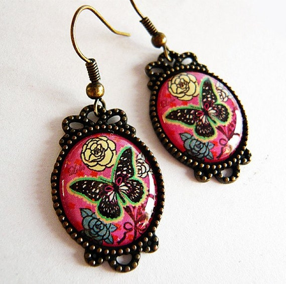 Retro Floral Pink Butterfly Earrings