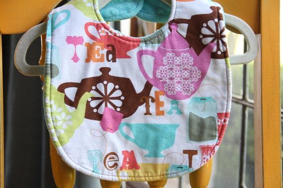 SALE Baby Girl bib - baby bib - teething bib - baby shower gift - Tea time girl bib - drooler bib - feeding bib - bib - Modern baby - Finney