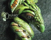 Polymer Clay Dragon Focal Bead Pendant - Drakon AMMOR