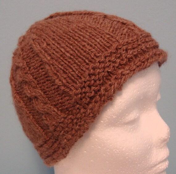 Handspun Handknit Cabled Hat Fine Llama Wool SUGRR Adult S\/M