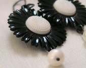 For Julie-Ann - Vintage Daisies - Luicite and Pearls. Oxidised Sterling Silver Earrings