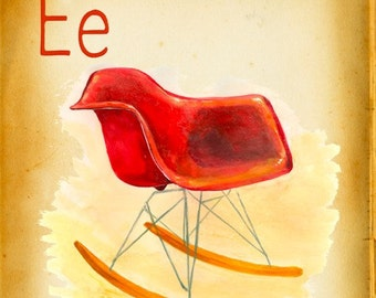 Modern Design Deck- E is for Eames-RAR - small print - mid century modern - father's day gift -giclee