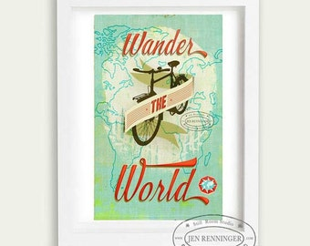 Wander the World -  large print - map of the world - typographic -  inspirational - biking
