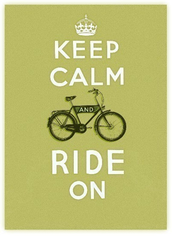 Keep Calm and Ride On in Green - Large print - biking, riding, inspiration, icon
