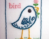 Bird --- Hand Embroidered Art, Ideal for Framing