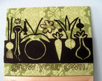 Grow Your Own.  Hand Embroidered Wall Art.